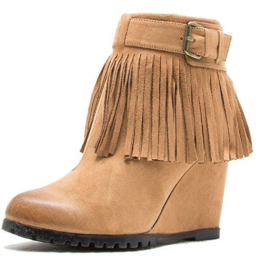 Qupid Women's Tustin-02 Fringe Tassel Buckle Wedge Bootie Boots (7 B(M) US, Camel) -- Review more details @