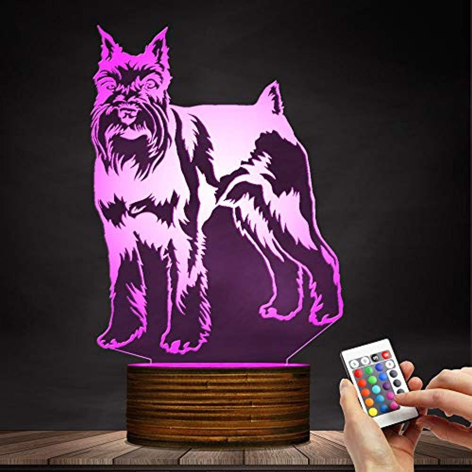 Schnauzer Dog 3d Optical Illusion Led Night Light Table Desk Lamp Animal Pet Puppy Kids Room Bedroom Sleepy Deco Animal Bedroom Puppy Kids Room Led Night Light
