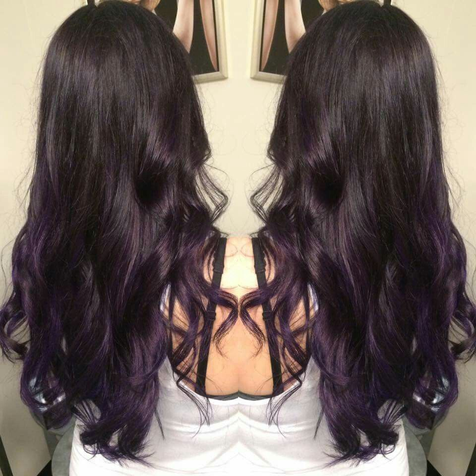 Dark Brown To Purple Balayage Ombre Hair By Somer Griffin