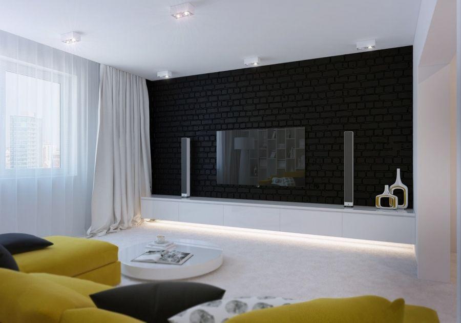 żółty Akcent We Wnętrzu Black Brick Wall Brick Wall Interior Living Room Brick Interior Wall