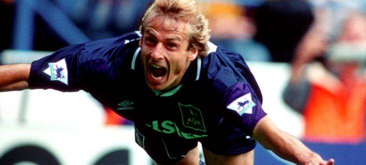 Jurgen's Klinsmann's famous diving celebration at Hillsborough, 1994