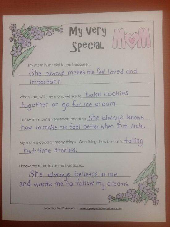 Why My Mom Is Special Super Teacher Worksheets Teacher Worksheets Teaching Elementary Super teacher worksheets main idea