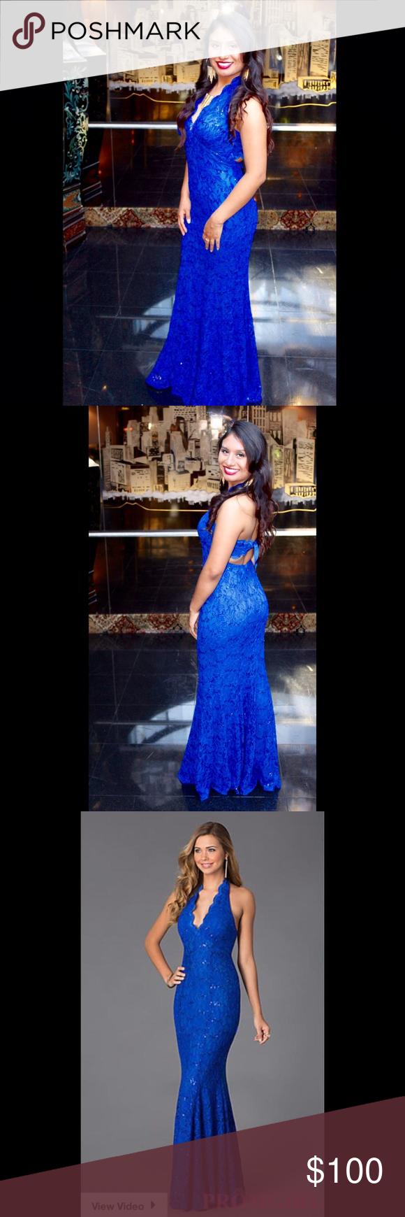 Closetcleanoutroyal blue long mermaid dress floor length dresses