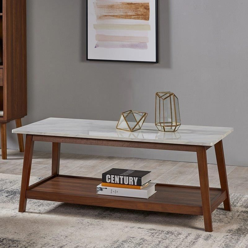 Retro Wooden Coffee Table Solid Wood And Granite Furniture For