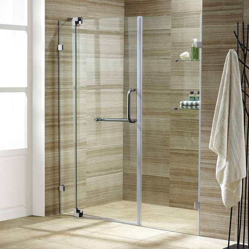 Vigo Vg604266 72 High X 60 Wide Frameless Swing Shower Door With 3 8 Clear Gl Brushed Nickel Showers Doors