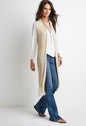 22d700fe055b19 Longline Fringed Sweater Vest