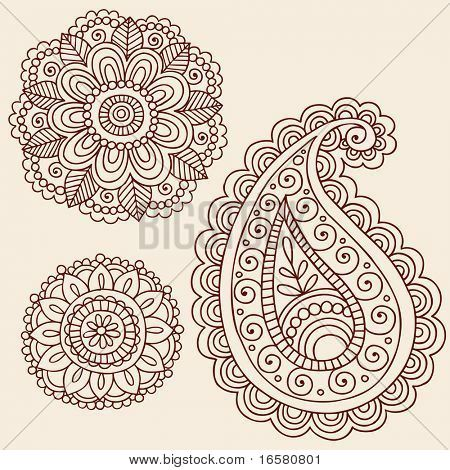 Tattoo Flowers And Paisley Doodle Vector Illustration Design ...