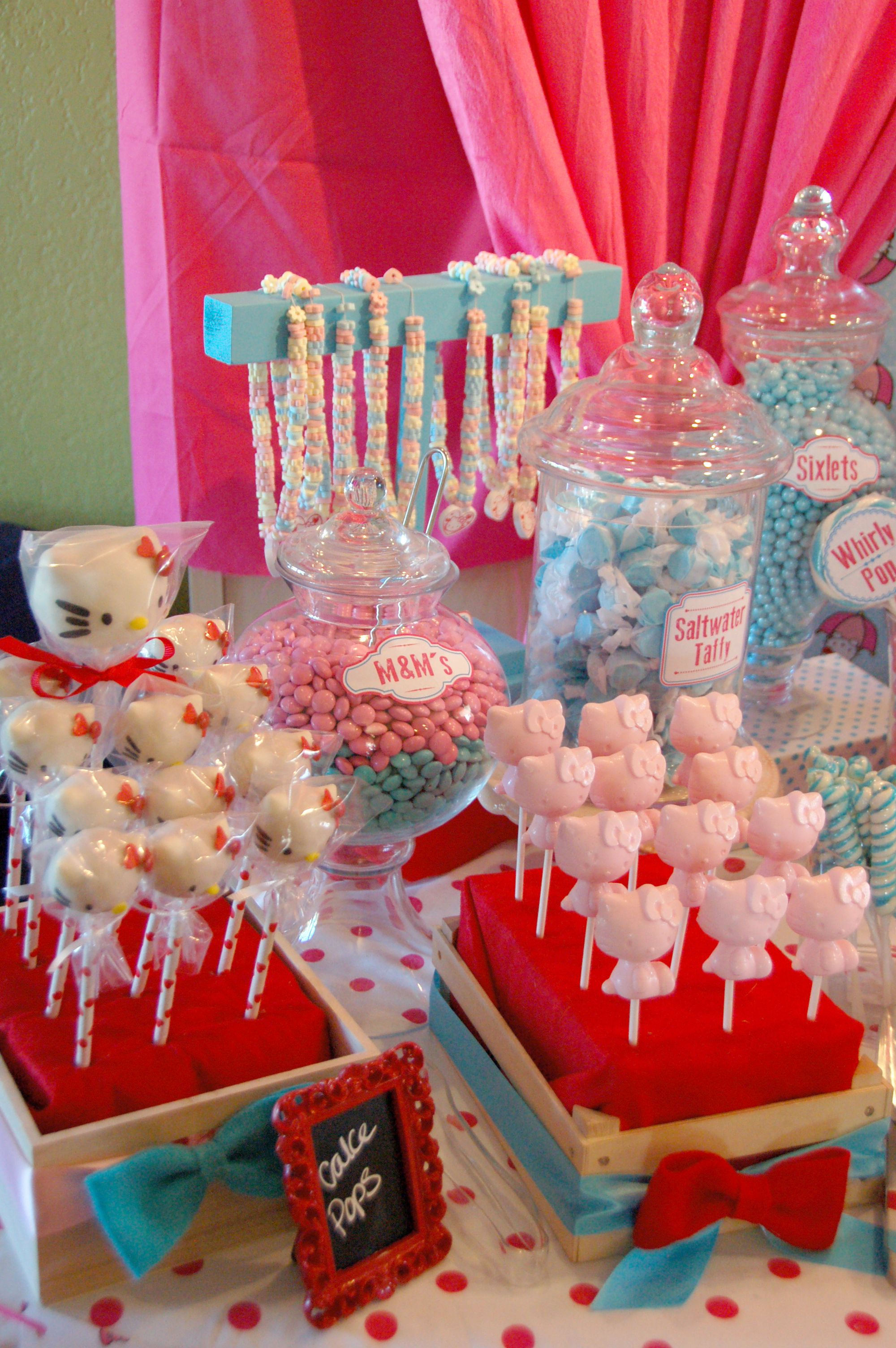 Hello Kitty themed candy/sweet buffet. Hello kitty