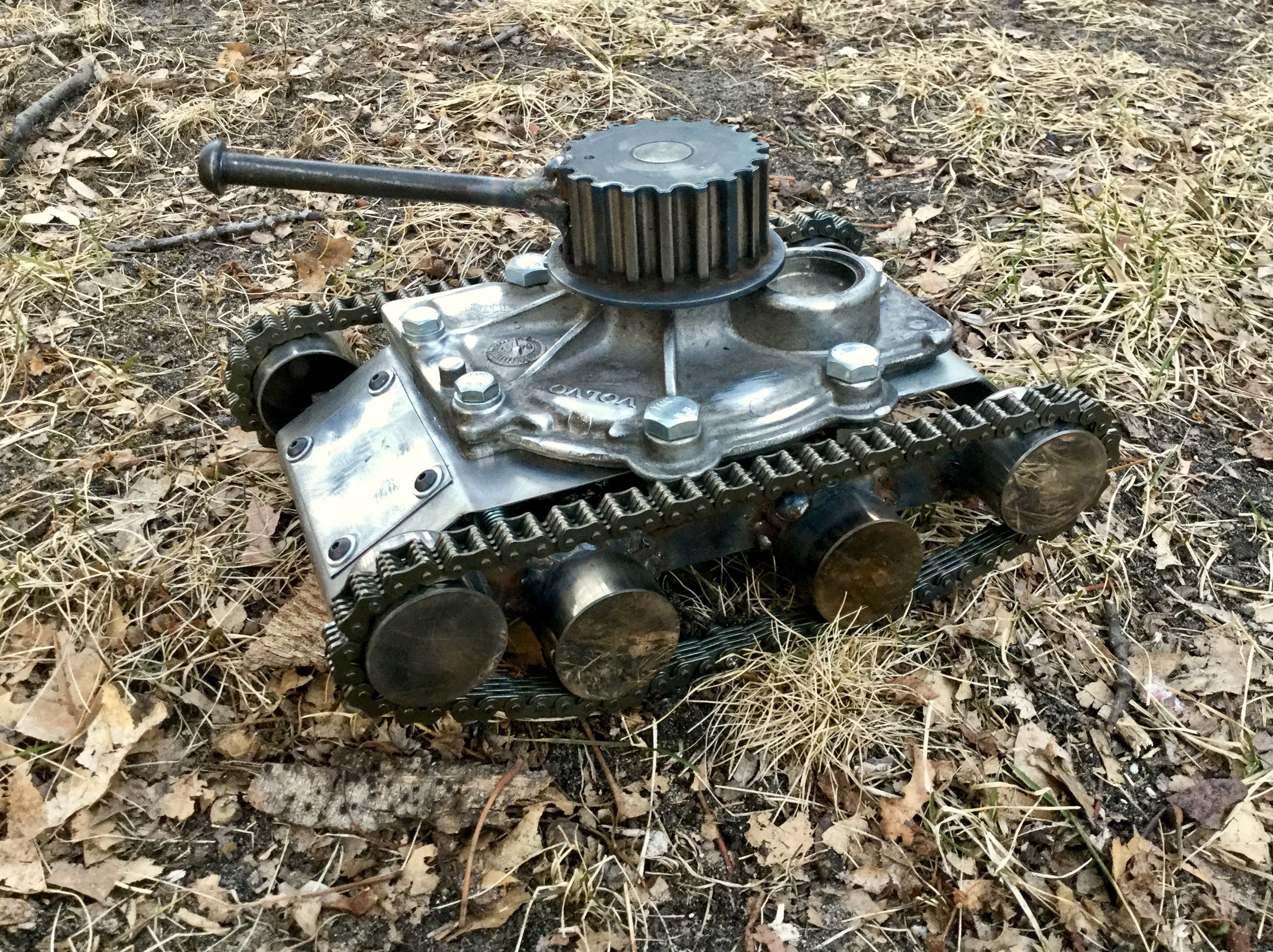 Volvo Tank. Junk art tank made from old auto parts and some scrap ...