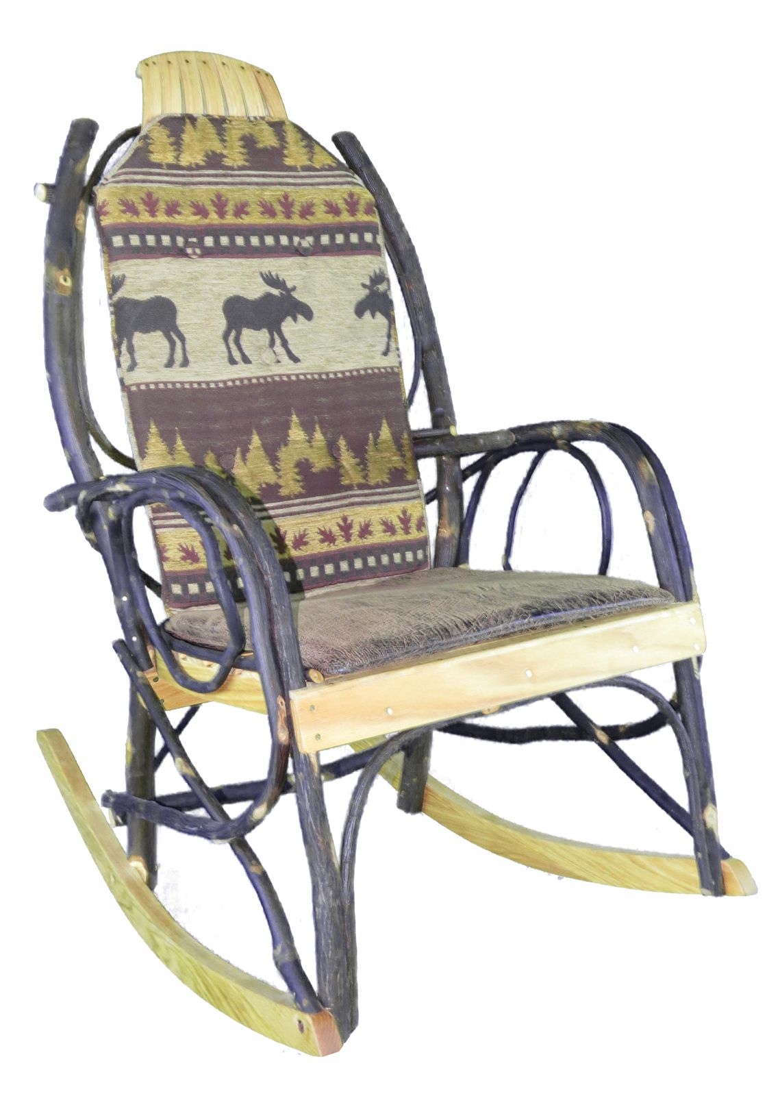 Amish Rocking Chair Cushion Set   Brown Moose Fabric