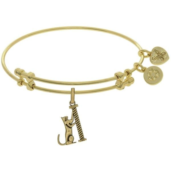 7.25 Adjustable Angelica Yellow Brass Cat Scratching post Charm Bangle... ($25) ❤ liked on Polyvore featuring jewelry, bracelets, charm bracelet, bracelets bangle, charm bracelet bangle, yellow bangles and adjustable bangle bracelet