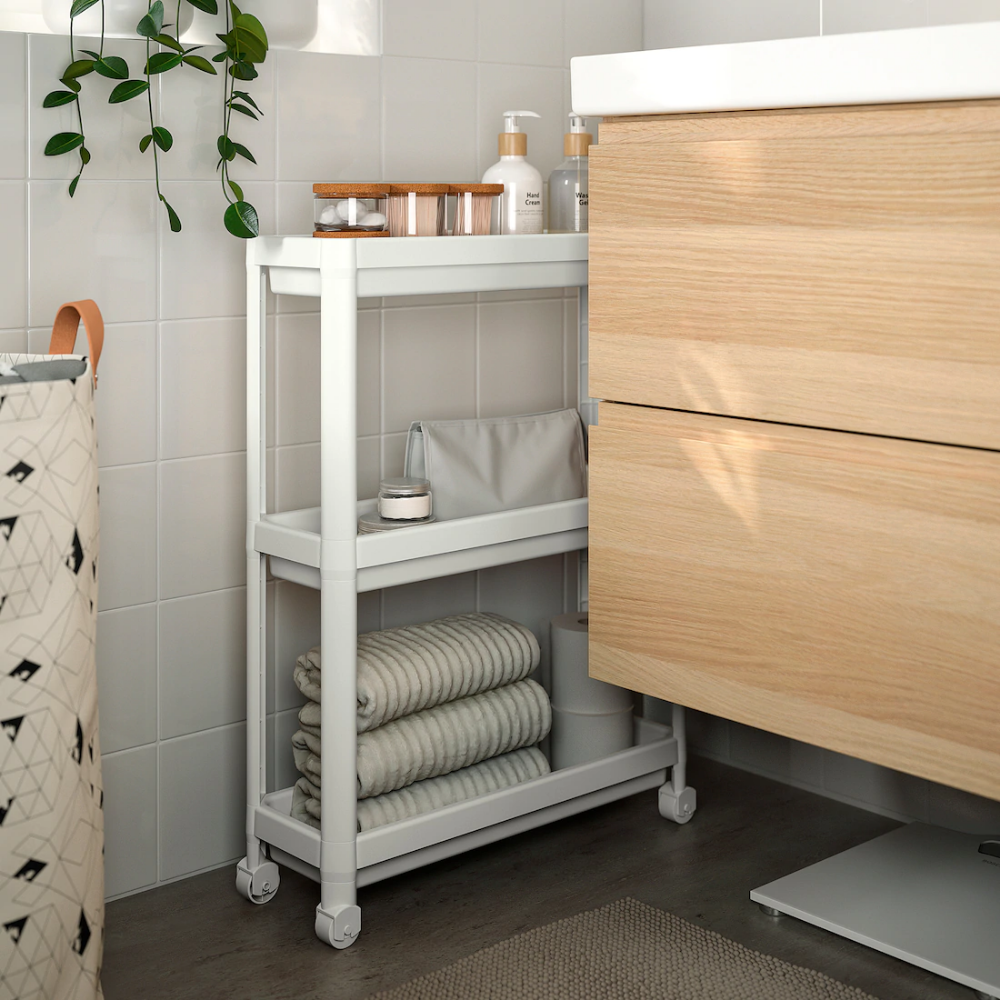 Vesken Cart White 21 1 4x7 1 8x28 Ikea In 2020 Bathroom Storage Units Ikea Ikea Storage
