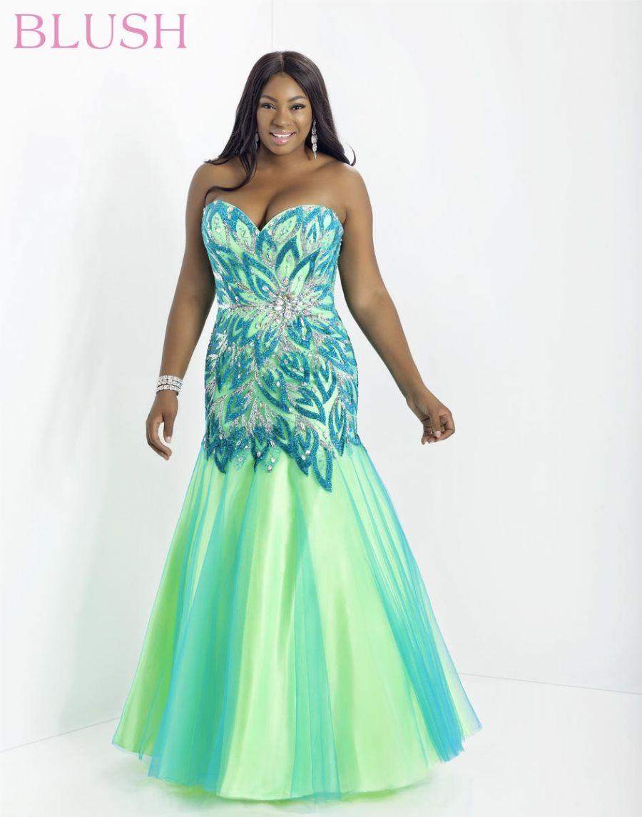 Blush w w plus size mermaid dress french novelty gowns