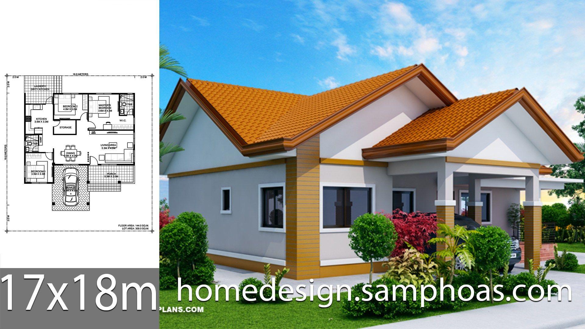 House Design Plans 17x18m With 3 Bedrooms Style Roof Tileshouse Description Ground Level 3 Bedr Home Design Plans House Construction Plan Simple House Design