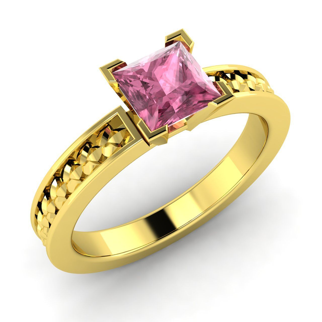 ct princess cut natural pink tourmaline solitaire ring in k