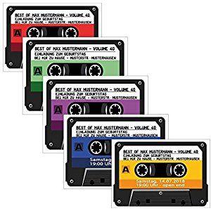 kassette einladungskarten kassetten 4 farben zur auswahl geburtstag party 30 st ck. Black Bedroom Furniture Sets. Home Design Ideas