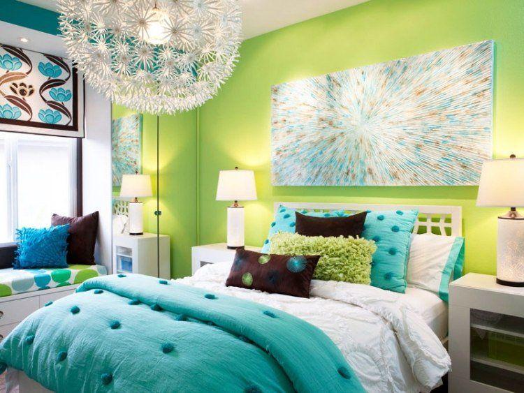 peinture-murale-vert-bleu-suspension-literie   Chambre adulte ...