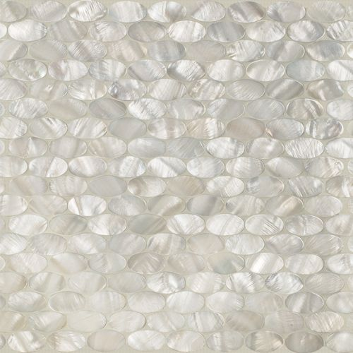 Artistic Tile White Rivershell Oval Mosaic Building