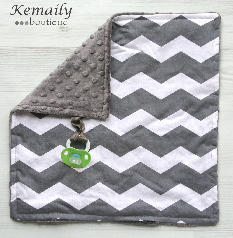 Grey Chevron Minky Binky Blanket From Kemaily
