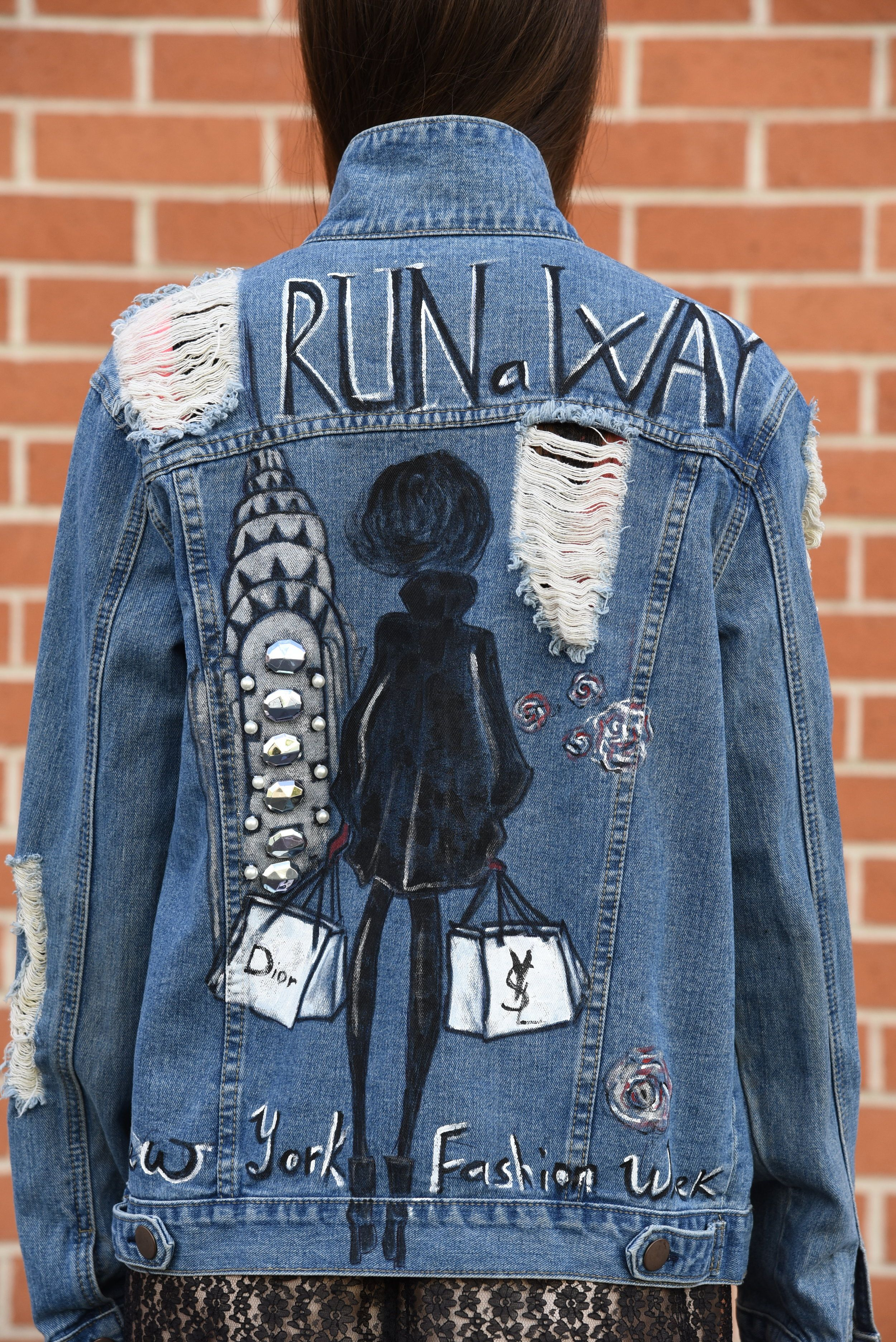 Hand Painted Vintage Denim Jacket Inspired By New York And Megan