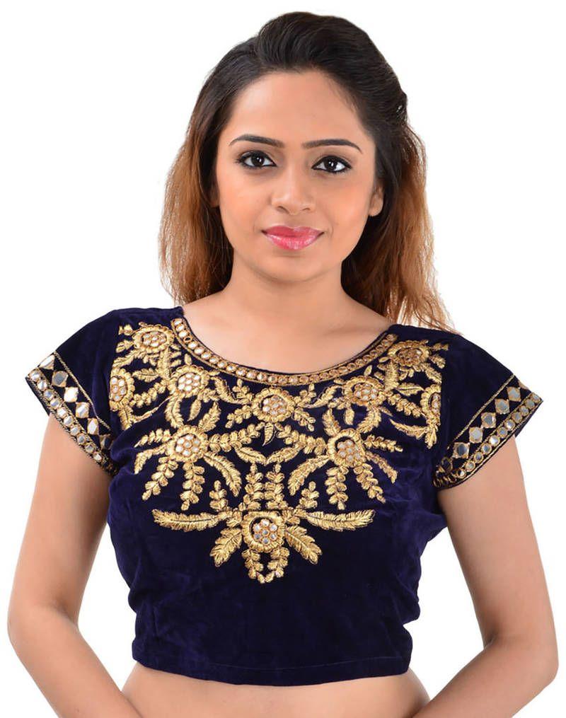 ad501d5042acfd Blue velvet mirror work unstitched blouse | Bridal Blouse Designs ...
