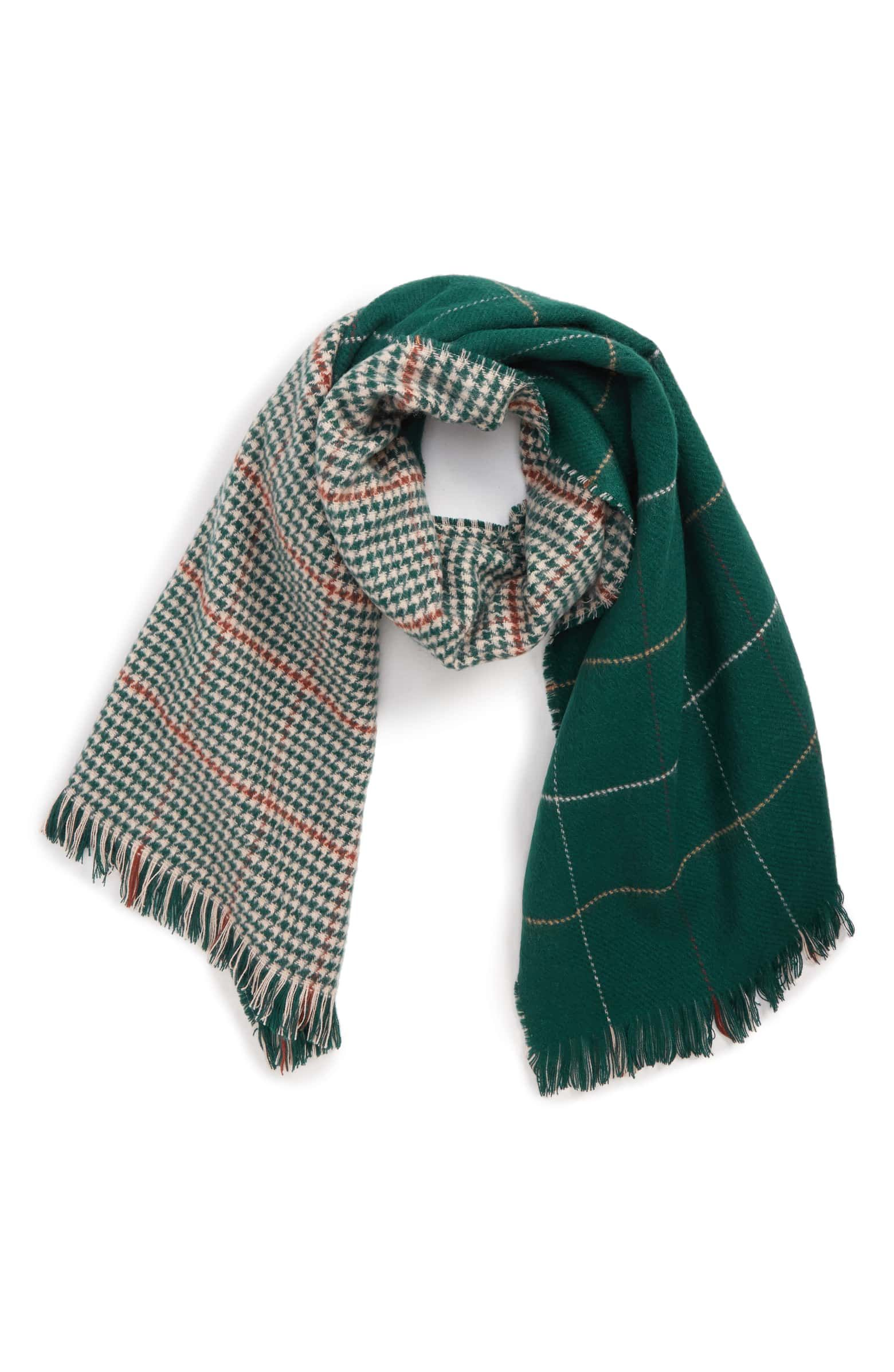 80a217dd8 Reversible Houndstooth & Grid Scarf, Main, color, GREEN MULTI Plaid Scarf,  Fall
