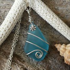 Handmade in Hawaii Wire wrapped sea glass necklace ,Sterling silver chain.