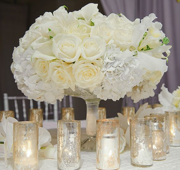 White Centerpiece Quotes : Centerpieces for white wedding reception inspirations