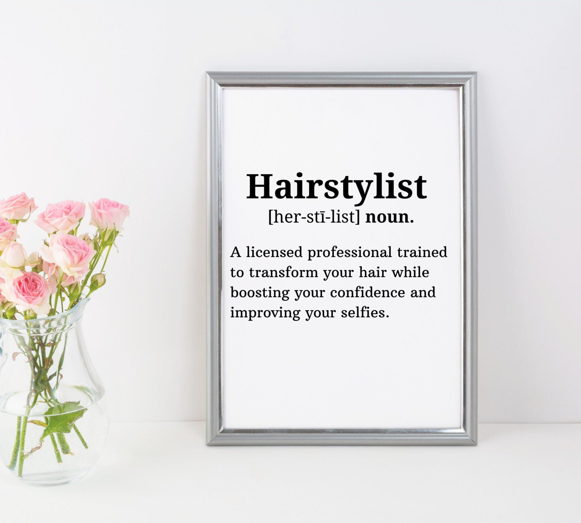 Hairstylist Definition Print Hair Salon Decor