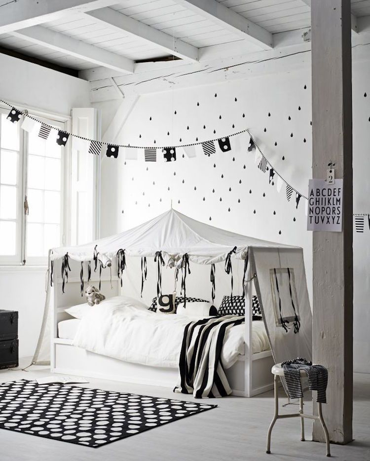 ikea kura bett umgestalten schwarz weiss zelt skandinavisch bedroom kids kinderzimmer in 2019. Black Bedroom Furniture Sets. Home Design Ideas