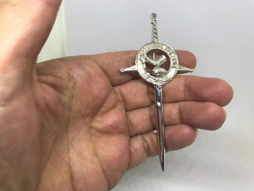 Vintage Signed Mac Dougall Clan Crest Sword Kilt BROOCH Pin Silver Tone  #MacDougall