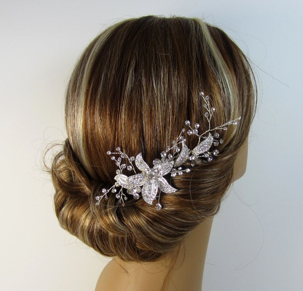 silver hair comb, crystal rhinestone flower, bridal flower hair