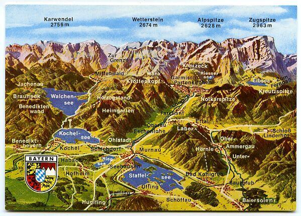 Germany Bayern Mountains Panorama Land Map Alpen Zugspitze Und