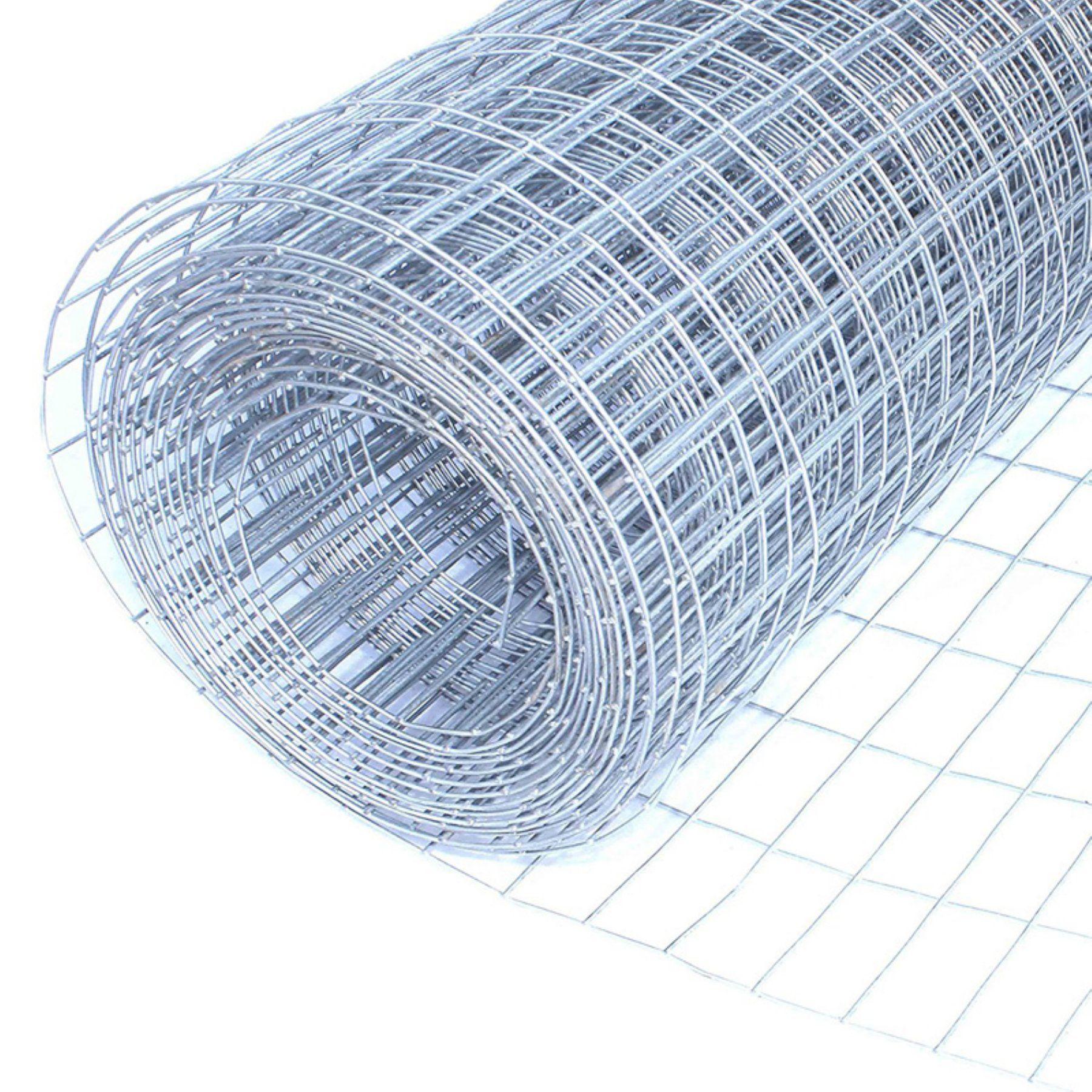 Aleko 16 Gauge Mesh Wire Roll With 0 5 X 1 In Rectangle Mesh Aleko Galvanized Metal Wire Mesh