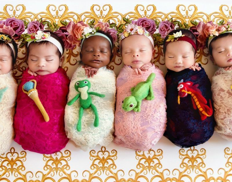 Mom recreates viral photo shoot with 6 new babies dressed - Princesse disney bebe ...
