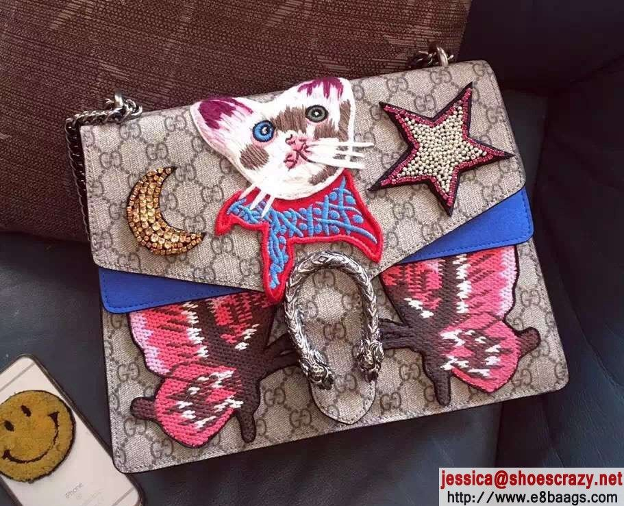 b988193bdde Gucci Cat and Butterfly Embroidered Dionysus GG Supreme Medium Bag 403348  2016