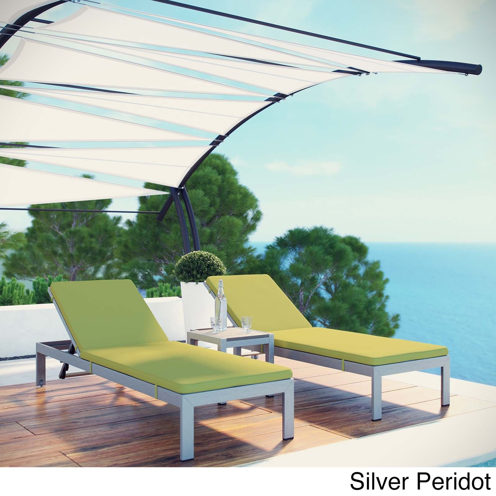 Modway Shore 3-piece Outdoor Patio Chaise with Cushions