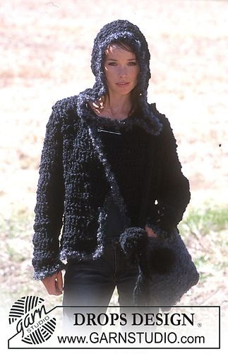 92-20 a - Crocheted Cardigan in Eskimo with Puddel edges by DROPS design free