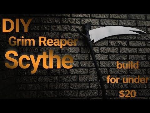 How to Make a Grim Reaper Scythe Prop, DIY Halloween Decorations - how to make halloween decorations youtube