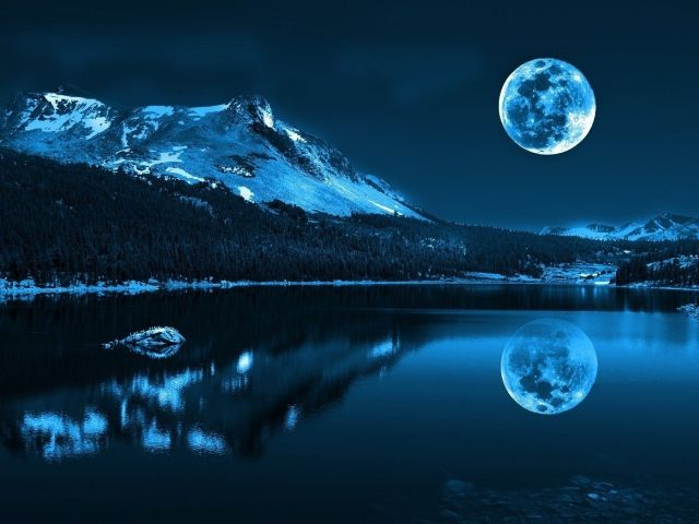 Night Landscape Water Moon Night Scenery Hd Wallpapers 1080p Mountain Paintings