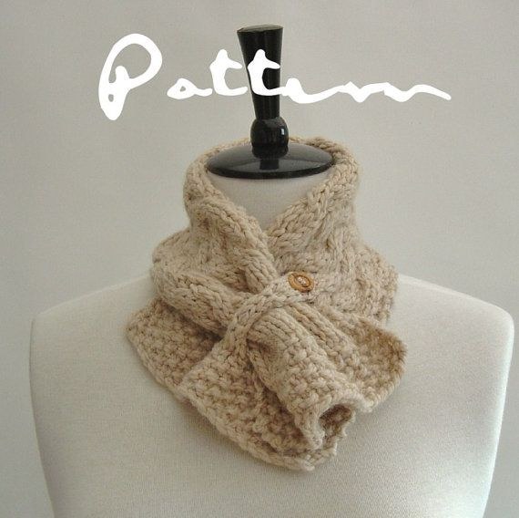 Knitting Pattern Scarf Easy Cable Neckwarmer Knit Pdf Digital