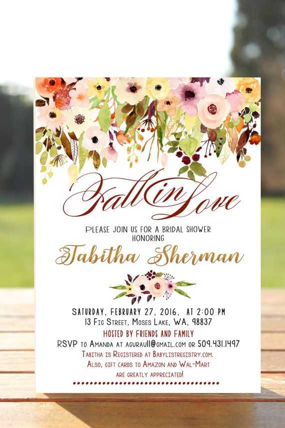 Fall bridal shower invitation, fall in love bridal shower ...