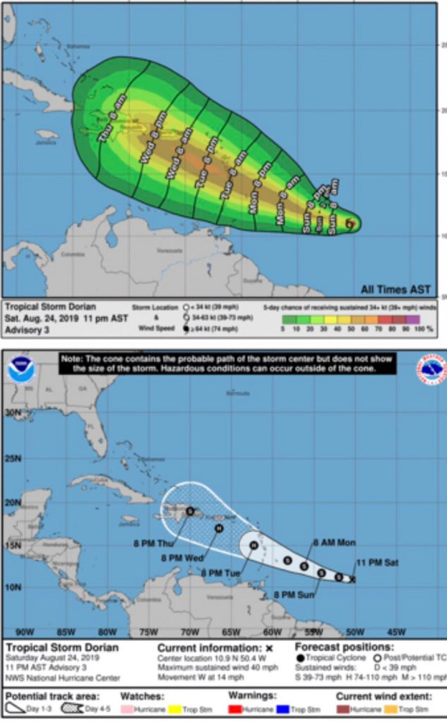 Tropical Storm Dorian Latest Update From Nhc Atlantic Has The Storm As A Hurricane Moving Over Puerto Rico By Thursday Aft St Croix Tropical Storm St Thomas