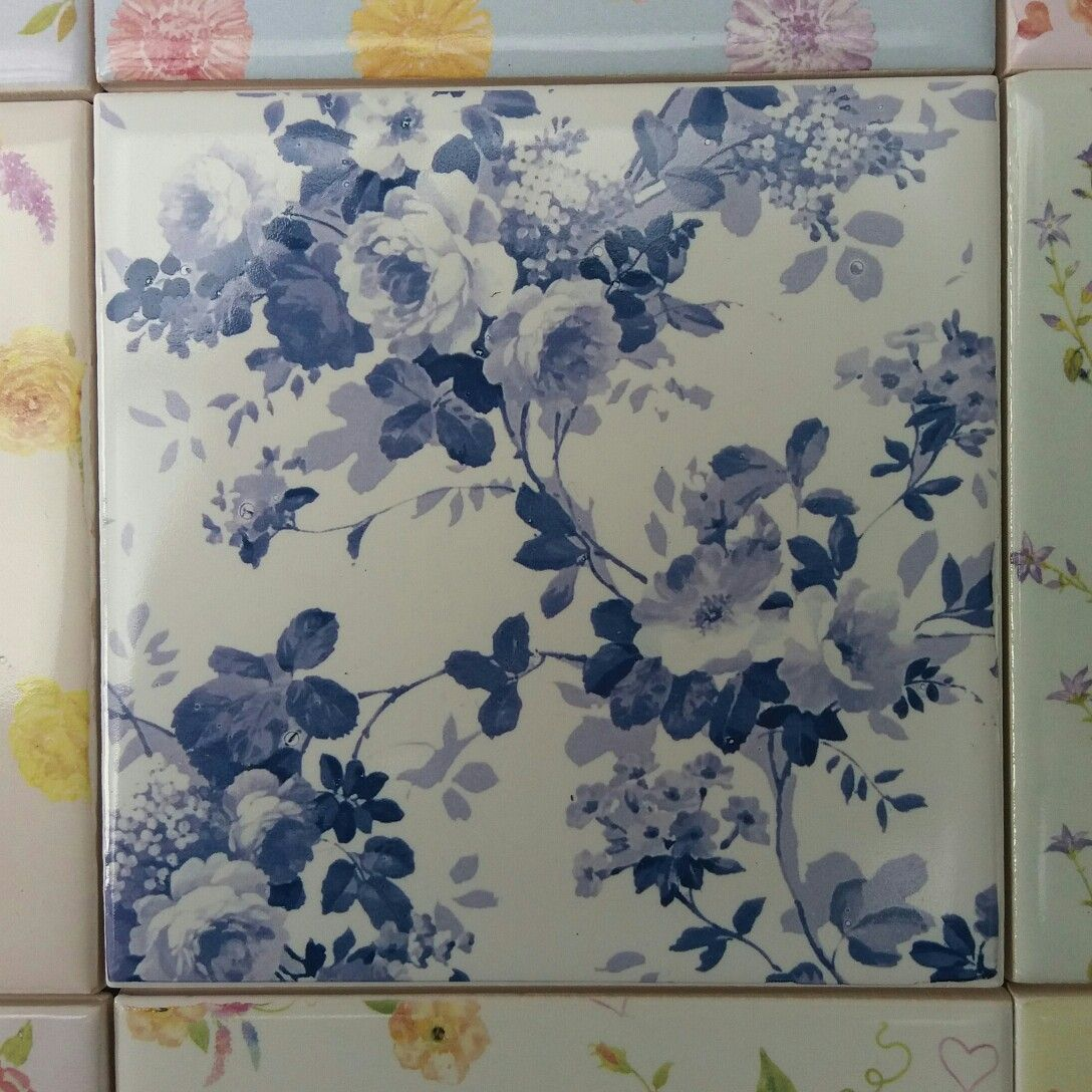 Blue Roses Pattern Ceramic Wall Tile Ceramic Wall Tiles Floral Tiles Wall Tiles