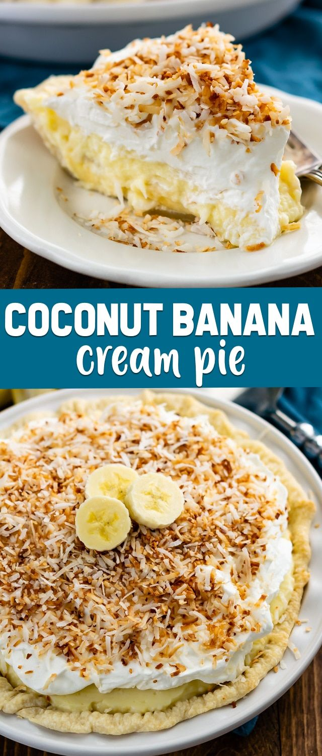 Coconut Banana Cream Pie #bananapie