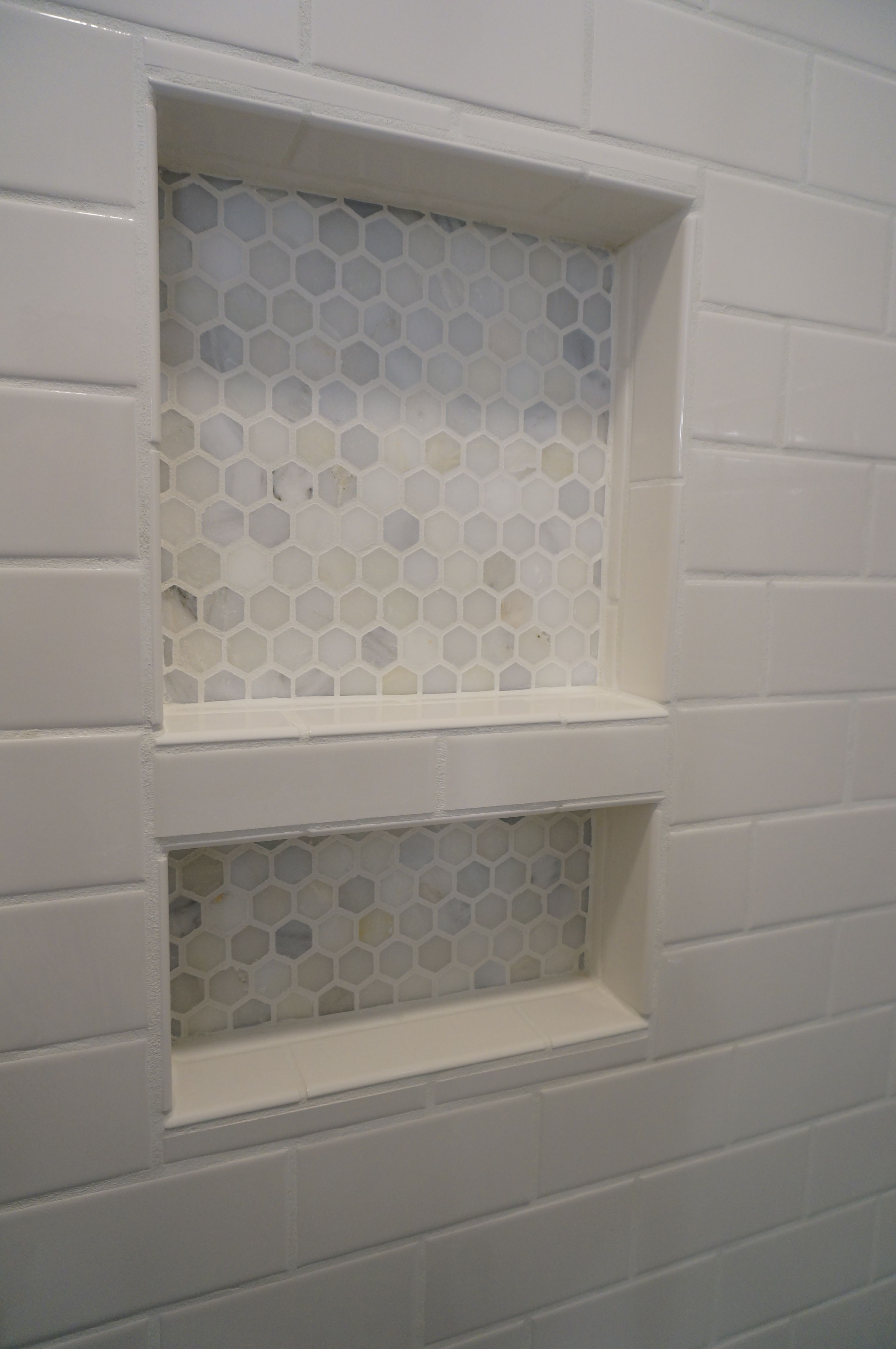 Merveilleux Tiled Shower Niche. Carrara Hexagon Tile.