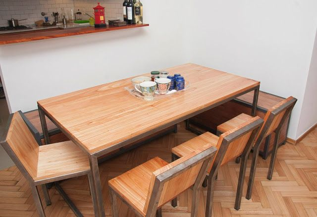 Mesa comedor chipi madera y hierro muebles y dise os - Muebles de hierro y madera ...