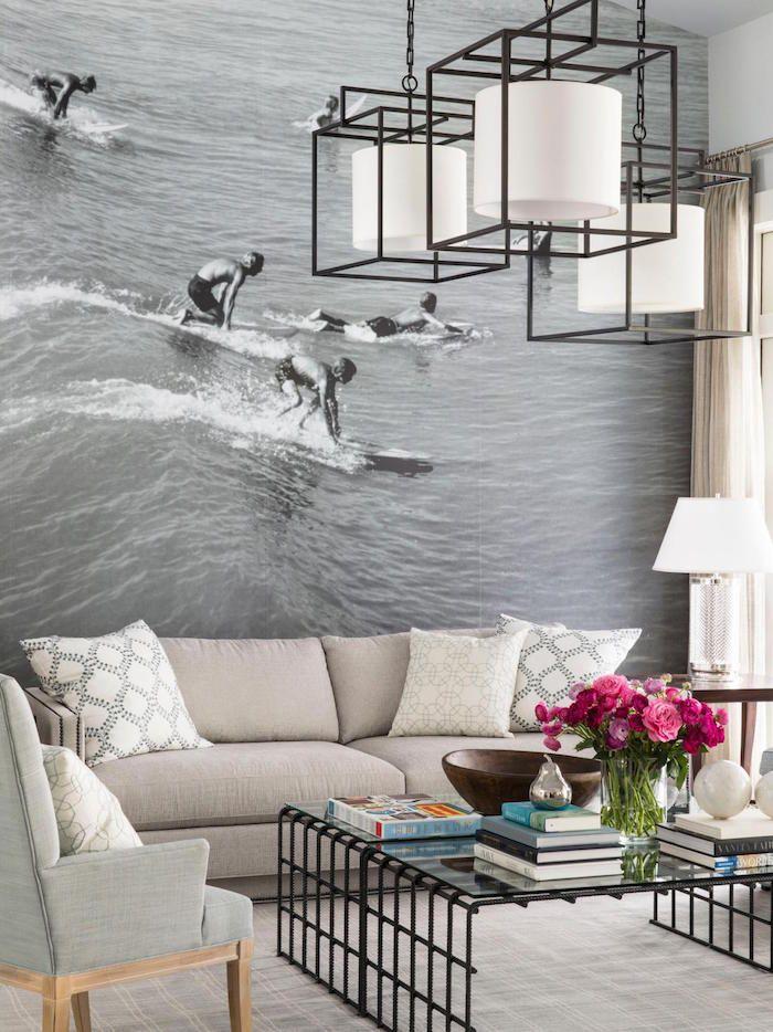 Modele papier peint tendance pour salon photo geante pour decoration intérieur