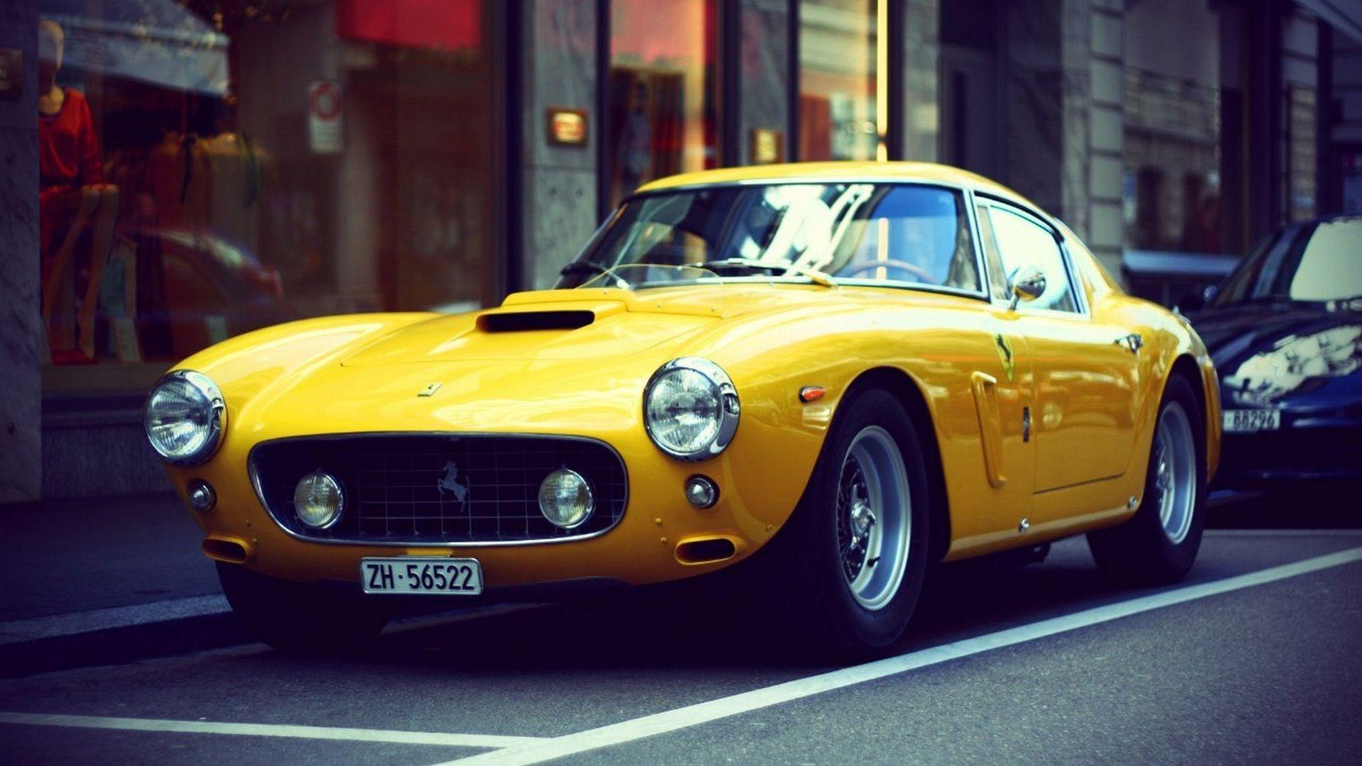 Ferrari yellow retro car wallpaper 1920x1080 | Retro car(Old school ...