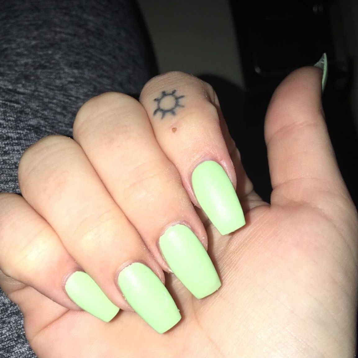 Light Green Matte Spring Coffin Nails Green Nails Coffin Nails Matte Pretty Nails Glitter